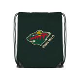 Dark Green Drawstring Backpack-Iowa Wild w Bear Head