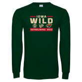 Dark Green Long Sleeve T Shirt-Iowa Wild 3 Marks Design