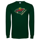 Dark Green Long Sleeve T Shirt-Iowa Wild w Bear Head