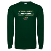 Dark Green Long Sleeve T Shirt-Hockey Lives Here