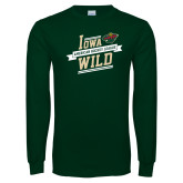 Dark Green Long Sleeve T Shirt-Iowa Wild Banner Design