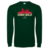 Dark Green Long Sleeve T Shirt-Hockey Lives Here Cityscape
