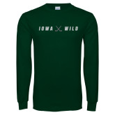 Dark Green Long Sleeve T Shirt-Iowa Wild Crossed Sticks