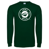 Dark Green Long Sleeve T Shirt-Iowa Wild Seal One Color