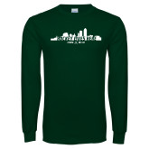 Dark Green Long Sleeve T Shirt-Hockey Lives Here Cityscape Cutout