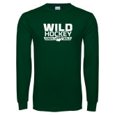 Dark Green Long Sleeve T Shirt-Wild Hockey