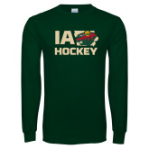 Dark Green Long Sleeve T Shirt-IA Hockey w State