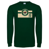 Dark Green Long Sleeve T Shirt-Iowa Wild Block Design
