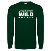 Dark Green Long Sleeve T Shirt-Wild Hockey Banner