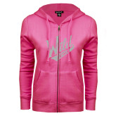 ENZA Ladies Fuchsia Fleece Full Zip Hoodie-Primary Mark White Soft Glitter