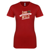 Next Level Ladies SoftStyle Junior Fitted Cardinal Tee-Iowa Wild Banner Design