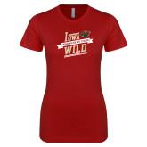 Next Level Ladies SoftStyle Junior Fitted Cardinal Tee-Iowa Wild Banner Design
