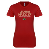 Next Level Ladies SoftStyle Junior Fitted Cardinal Tee-Iowa Wild Lined Design