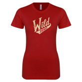 Next Level Ladies SoftStyle Junior Fitted Cardinal Tee-Primary Mark Distressed