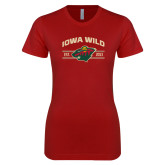 Next Level Ladies SoftStyle Junior Fitted Cardinal Tee-Iowa Wild Arched