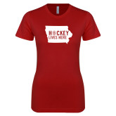 Next Level Ladies SoftStyle Junior Fitted Cardinal Tee-Hockey Lives Here State