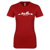 Next Level Ladies SoftStyle Junior Fitted Cardinal Tee-Hockey Lives Here Cityscape Cutout