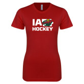 Next Level Ladies SoftStyle Junior Fitted Cardinal Tee-IA Hockey w State