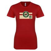 Next Level Ladies SoftStyle Junior Fitted Cardinal Tee-Iowa Wild Block Design