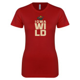 Next Level Ladies SoftStyle Junior Fitted Cardinal Tee-Iowa Wild Stacked