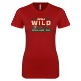 Next Level Ladies SoftStyle Junior Fitted Cardinal Tee-Iowa Wild 3 Marks Design