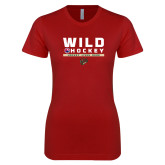 Next Level Ladies SoftStyle Junior Fitted Cardinal Tee-Wild Hockey w Primary Mark