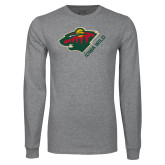 Grey Long Sleeve T Shirt-Iowa Wild w Bear Head