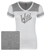 Ladies White/Heathered Nickel Juniors Varsity V Neck Tee-Primary Mark Silver Soft Glitter