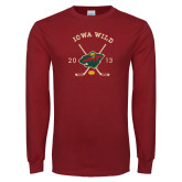 Cardinal Long Sleeve T Shirt-Iowa Wild 2013 Hockey Sticks