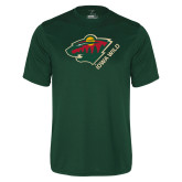 Performance Dark Green Tee-Iowa Wild w Bear Head
