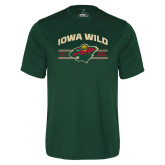Performance Dark Green Tee-Iowa Wild Arched