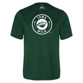 Performance Dark Green Tee-Iowa Wild Seal One Color
