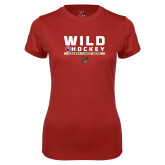 Ladies Syntrel Performance Cardinal Tee-Wild Hockey w Primary Mark