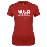 Ladies Syntrel Performance Cardinal Tee-Wild Hockey w Primary Mark