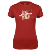 Ladies Syntrel Performance Cardinal Tee-Iowa Wild Banner Design