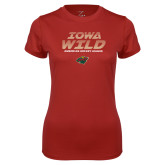 Ladies Syntrel Performance Cardinal Tee-Iowa Wild Lined Design