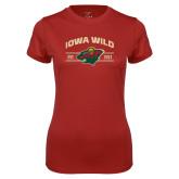 Ladies Syntrel Performance Cardinal Tee-Iowa Wild Arched