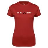 Ladies Syntrel Performance Cardinal Tee-Iowa Wild Crossed Sticks