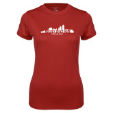 Ladies Syntrel Performance Cardinal Tee-Hockey Lives Here Cityscape Cutout