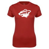 Ladies Syntrel Performance Cardinal Tee-Bear Head