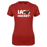 Ladies Syntrel Performance Cardinal Tee-IA Hockey w State