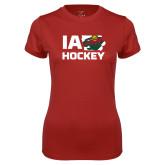Ladies Syntrel Performance Cardinal Tee-IA Hockey w State