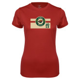 Ladies Syntrel Performance Cardinal Tee-Iowa Wild Block Design