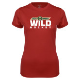 Ladies Syntrel Performance Cardinal Tee-Wild Hockey Banner