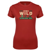 Ladies Syntrel Performance Cardinal Tee-Iowa Wild 3 Marks Design