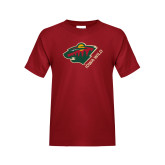 Youth Cardinal T Shirt-Iowa Wild w Bear Head