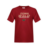 Youth Cardinal T Shirt-Iowa Wild Lined Design