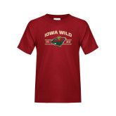 Youth Cardinal T Shirt-Iowa Wild Arched