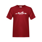 Youth Cardinal T Shirt-Hockey Lives Here Cityscape Cutout