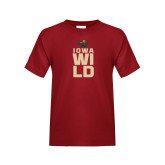 Youth Cardinal T Shirt-Iowa Wild Stacked
